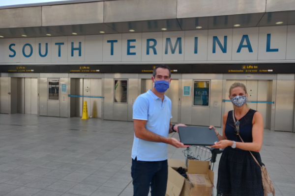 Gatwick Airport handing over laptops to Level Up Reigate and Banstead